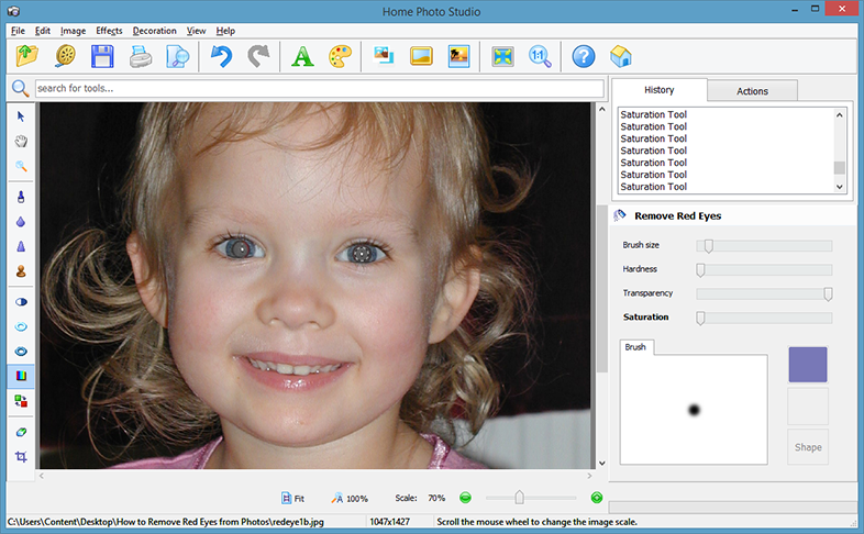 How to remove red eyes from photos